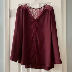 Pleione maroon lace trim blouse top